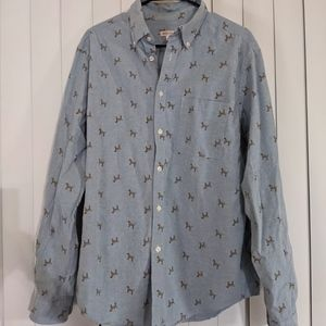 Merona chambray dog-print button-up, size L!